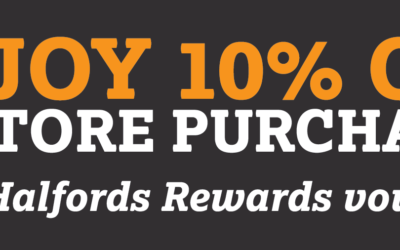 Enjoy 10% off in-store purchases with Halfords Rewards vouchers